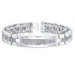 14k White Gold Mens Pave Diamond Bracelet