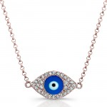 14k Rose Gold Diamond Dark Blue Enamel Evil Eye Chain Necklace