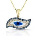 14k Yellow Gold Diamond Swirl Evil Eye Pendant
