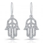 14k White Gold Diamond Peace Hamsa Earrings