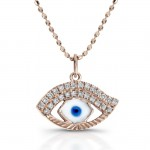 14k Rose Gold Enamel Evil Eye Diamond Pendant