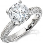 14k White Gold Pave Prong Round Diamond Engagement Semi Mount Ring NK10224ENG-W