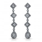 18k White Gold Princess Emerald Diamond Drop Earrings NK10407-W