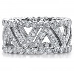 14k White Gold Pave Bezel Diamond Fashion Ring - NK11077-W