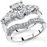 14k White Gold Pear Shaped Three Stone Diamond Semi Bridal Set NK11513WE-W