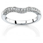 14k White Gold Pear Shaped Three Stone Diamond Wedding Band NK11513WED-W