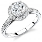 14k White Gold Pave Diamond Halo Semi Mount Engagement Ring NK11515-W