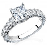 14k White Gold Prong Princess Cut Diamond Semi Mount - NK11569-W