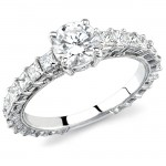 18k White Gold Prong Bezel Diamond Semi Mount - NK11574-W