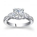 18k White Gold Three Stone Diamond Engagement Ring NK11873-W