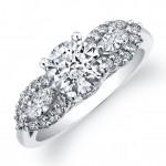 14k White Gold Diamond Engagement Semi Mount with Side Diamonds NK12084-W