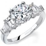 14k White Gold Channel Baguette Emerald Cut Diamond Semi Mount NK12171-W