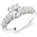 18k White Gold Prong Princess Cut Diamond Semi Mount - NK12877-W