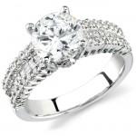 18k White Gold Princess Cut Diamond Engagement Semi Mount Ring NK12878ENG-W