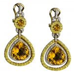 18k Yellow and White Gold Diamond, Citrine and Yellow Sapphire Earrings NK13420CT-YW