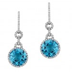 18k White Gold Prong Blue Topaz Diamond Earrings - NK14103BTPZ-W