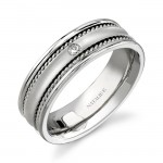 14k White Gold Bezel Rope Trim Diamond Men's Band - NK15380-W