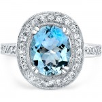 14k White Gold Oval Shaped Aquamarine Ring NK16423AQ-W