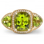 14k Yellow Gold Three Stone Peridot Diamond Ring NK16529P-Y