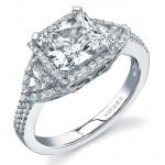 14k White Gold Three Stone Diamond Engagement Ring NK16672-W