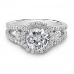 14k White Gold Three Stone Halo Diamond Engagement Ring NK17050-W
