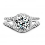 14k White Gold Pave Halo Split Shank Diamond Engagement Ring NK17054-W