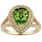 14k Yellow Gold Pear Shaped Peridot Diamond Ring NK17143P-Y
