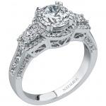 18k White Gold princess Cut Three Stone Diamond Engagement Ring NK17911-W