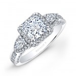 14k White Gold Princess Halo Diamond Engagement Ring with Pear Side Stones NK17954-W