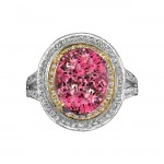 14k White and Yellow Gold Pink Tourmaline and White Diamond Ring