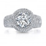 18k White Gold Micro Pave Halo Diamond Semi Mount Engagement Ring - NK17999-W