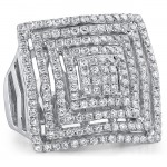 18k White Gold Fashion Diamond Square Band NK18559-W