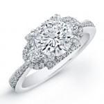 18k White Gold Halo Three Stone Diamond Semi Engagement Ring NK18855-W