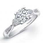 18k White Gold Three Stone Diamond Semi Engagement Ring NK19000-W