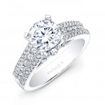 18k White Gold Prong and Channel Round Diamond Engagement Ring