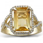 14k Yellow Gold Citrine Diamond Ladies Ring NK19374CT-Y