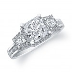 14k White Gold Three Stone Halo Diamond Engagement Ring - NK19437-W