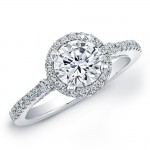 14k White Gold Halo Diamond Engagement Semi Mount Ring NK19457-W