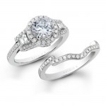 18k White Gold Three Stone Halo Baguette Diamond Bridal Ring Set NK19516WE-W