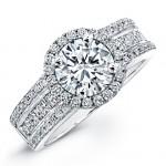 18k White Gold Princess Cut Diamond Halo Engagement Ring NK19615-W