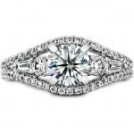 14k White Gold Round Three Stone Baguette Diamond Engagement Semi Mount - NK19691ENG-W