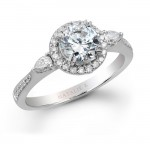 18k White Gold Pear Shaped Side Stone Diamond Halo Engagement Ring