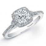 18k White Gold Micro Prong Halo Diamond Semi Mount Engagement Ring NK20399ENG-W