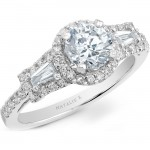 14k White Gold Three Stone Baguette Diamond Halo Engagement Semi Mount NK20508ENG-W