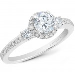 18k White Gold Three Stone Micro Pave Diamond Halo Engagement Semi NK20513ENG-W