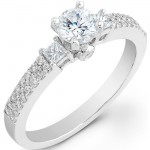 14k White Gold Three Stone Halo Diamond Semi Mount Engagement Ring NK20514ENG-W
