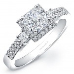 14k White Gold Three Stone Princess Cut Halo Diamond Engagement Semi Mount Ring NK20537-W