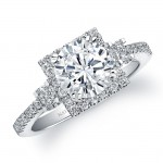 14k White Gold Three Stone Diamond Halo Engagement Ring - NK22925-W