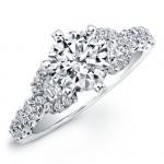 18k White Gold Half Moon Prong Diamond Engagement Semi Mount Ring