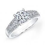 18k White Gold Prong and Channel White Diamond Engagement Ring